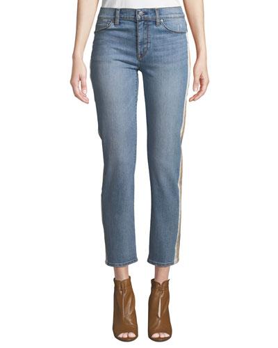 Nico Mid-Rise Cigarette Jeans w/ Side Stripes