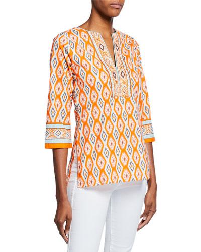 Quinn Ikat-Print V-Neck 3/4-Sleeve Tunic