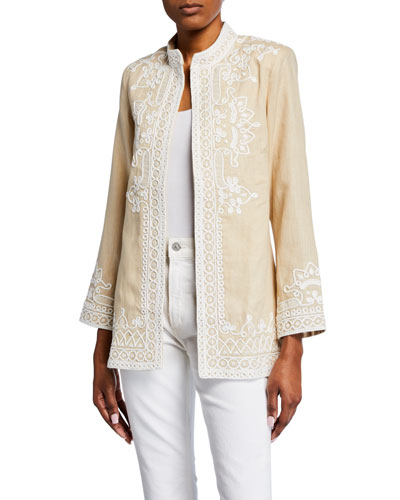 Ceci Embroidered Open-Front Jacket