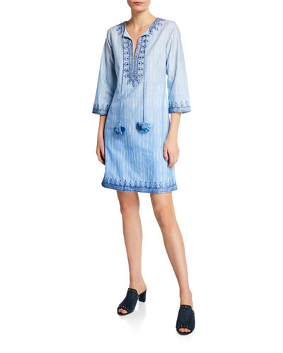 Heather Split-Neck 3/4-Sleeve Embroidered Cotton Dress w/ Tassel Ties