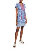 Bella Tu Brooke Floral-Print Split-Neck Cap-Sleeve Dress w/