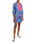 Bella Tu Fleur Floral-Print Split-Neck Peasant Dress with
