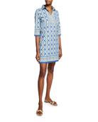 Bella Tu Quinn Ikat-Print 3/4-Sleeve Shirtdress