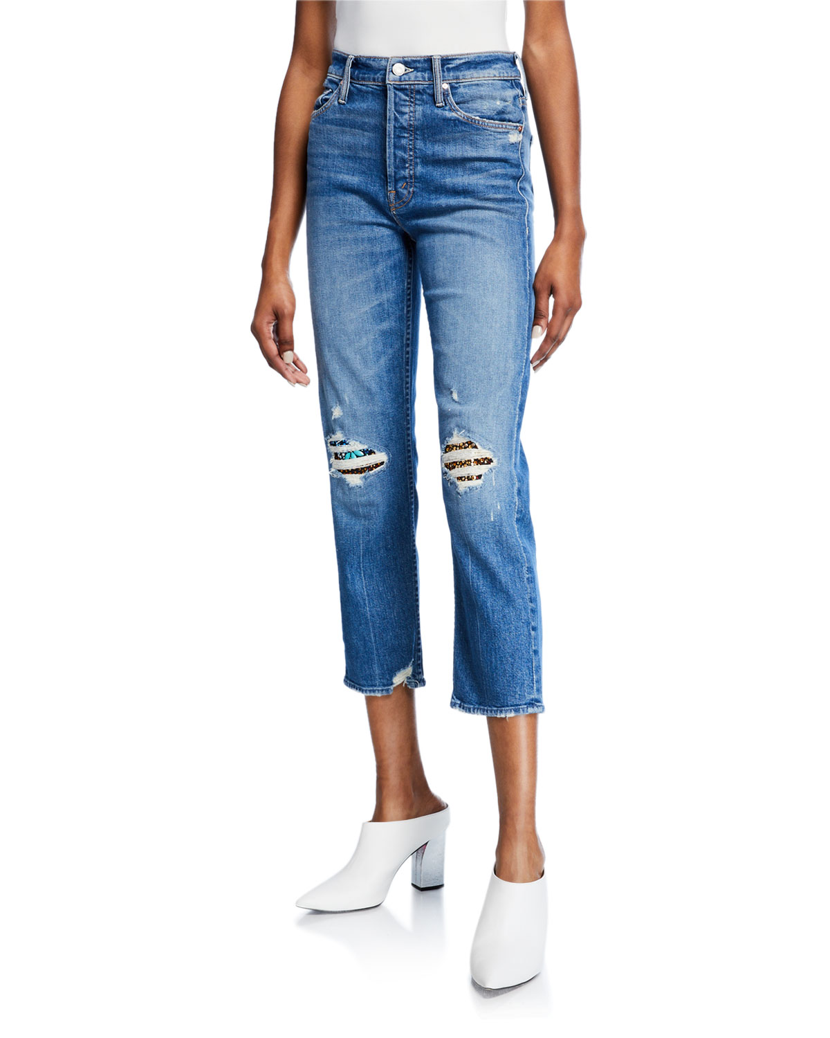 Tomcat High-Rise Jewelled Ripped Ankle Jeans in Pray 4 Hidden Gem