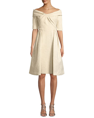 Off-the-Shoulder Elbow-Sleeve Fit-and-Flare Cloque Dress