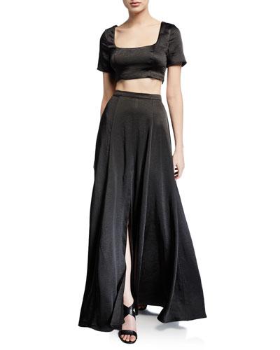 The Zita Two-Piece Satin Twill Crop Top & Skirt Set