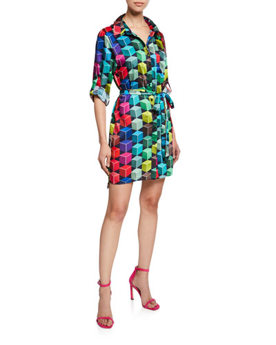 Button-Front 3/4-Sleeve Cube-Print Mini Shirtdress
