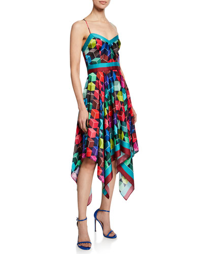 Sweetheart Sleeveless Cube-Print Handkerchief Dress