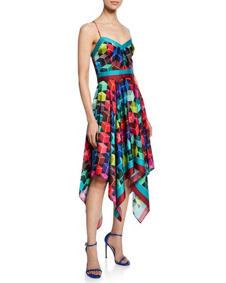 Milly Sweetheart Sleeveless Cube-Print Handkerchief Dress
