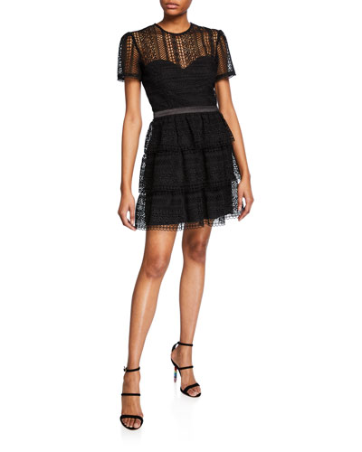 Ava Crewneck Short-Sleeve Tiered Lace Illusion Dress