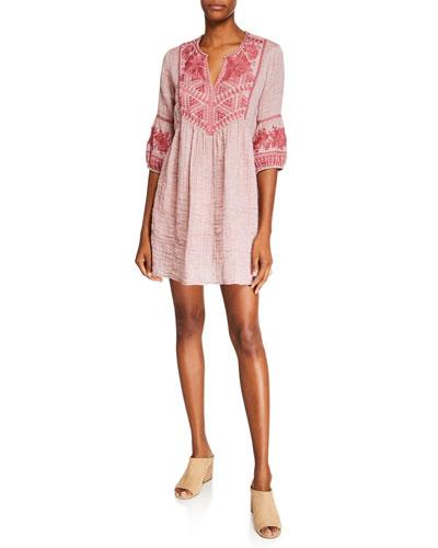 Josiane Embroidered 3/4-Sleeve Tunic Gauze Dress
