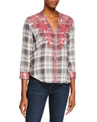 Johnny Was Josiane Embroidered Button-Front Plaid Blouse