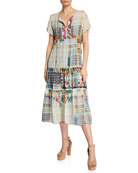 Johnny Was Zakina Split-Neck Short-Sleeve Tiered Multi-Print