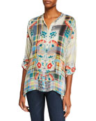 Johnny Was Patch Printed Button-Front Blouse