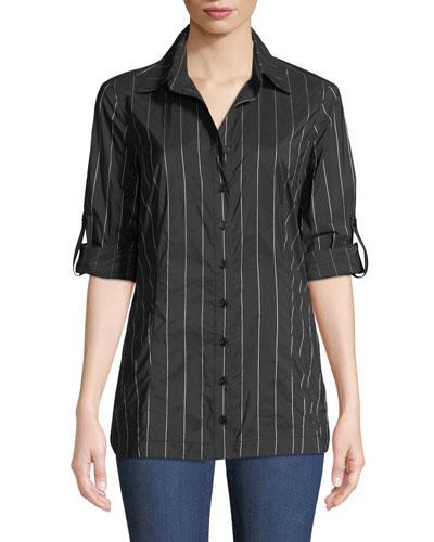 Joey Long-Sleeve Button-Front Pinstripe Tech-Fabric Shirt