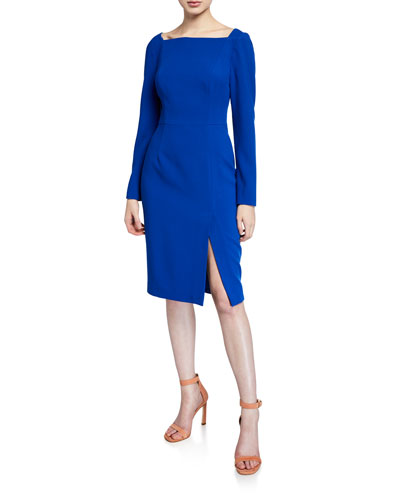 Rachel High-Neck Long-Sleeve Sheath Dress with Slit