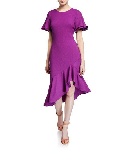 Ruiz Jewel-Neck Short-Sleeve Ruffle-Hem Godet Dress