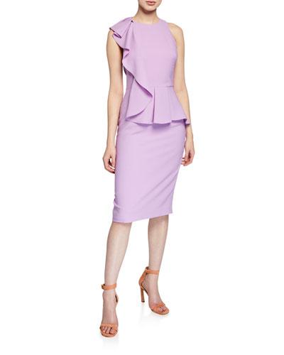 d058ccab3c1 Quick Look. Black Halo · Felicia Sleeveless Ruffle Peplum Sheath Dress.  Available in Purple