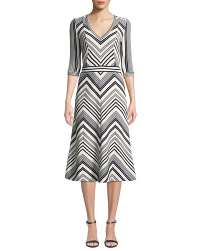 Chevron V-Neck Elbow-Sleeve A-Line Dress