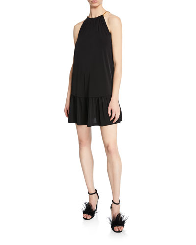 Chain Halter Mini Dress with Ruffle Hem