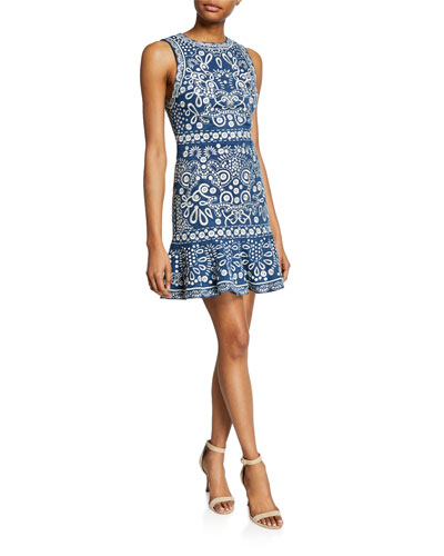 aea6778314f6 Quick Look. Alice + Olivia · Rapunzel Embroidered Sleeveless Dress