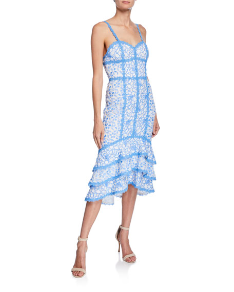Alice + Olivia Diane Floral Lace Sweetheart Sleeveless Tiered High-Low Dress