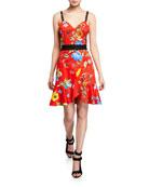 Alice + Olivia Kirby Spaghetti Strap Ruffle Dress