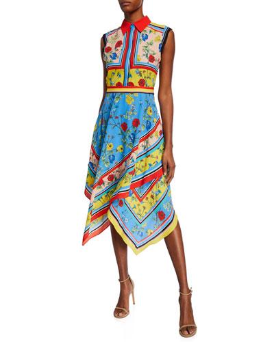 aa838697b6 Quick Look. Alice + Olivia · Farrah Collared Handkerchief Dress