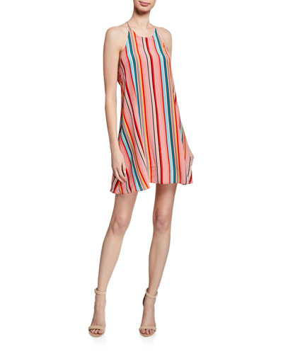 Kalia Striped Halter Tie-Back Mini Dress
