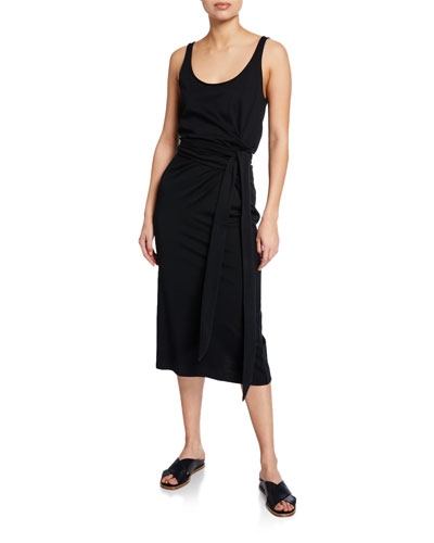 Scoop-Neck Sleeveless Wrap Dress