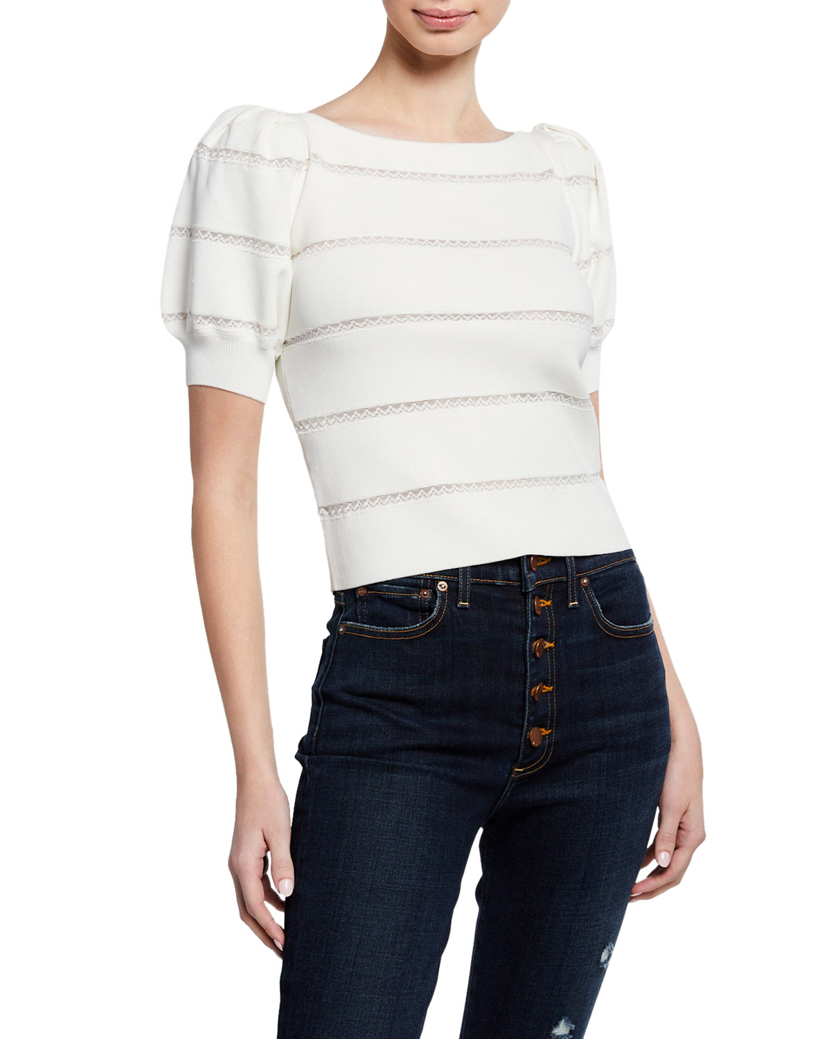 Lavona Boat-Neck Puff-Sleeve Lace-Inset Pullover