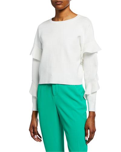 Nettie Ruffle-Sleeve Crewneck Sweater