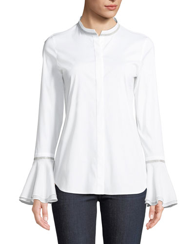 Thayer Italian Stretch-Cotton Blouse