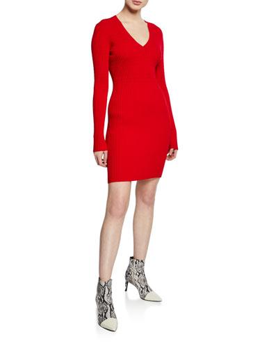 Brea Ribbed V-Neck Mini Sweater Dress