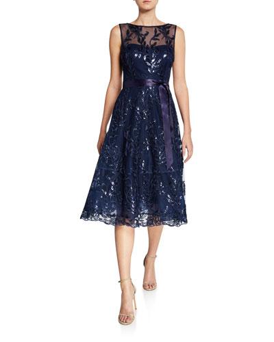 Sequin Lace Boat-Neck Sleeveless Illusion Dress