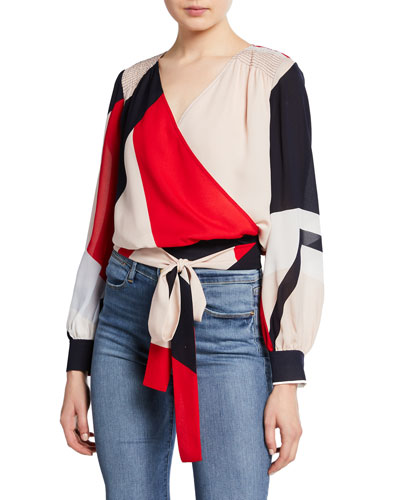 4f348f51c07bc Quick Look. Tanya Taylor · Klara Colorblock Long-Sleeve Wrap Top