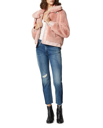 Internet Hobo Faux-Fur Cropped Bomber Jacket