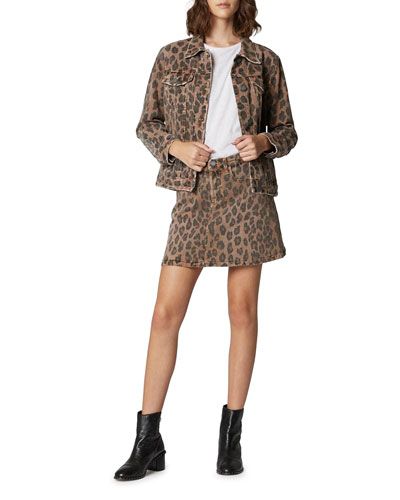 Catwalk Leopard-Print Denim Trucker Jacket