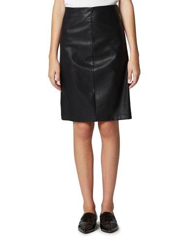 Vegan Leather Side-Split Pencil Skirt