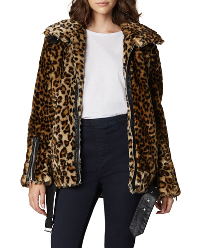 Note To Self Leopard-Print Faux-Fur Jacket