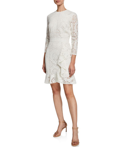 Abella 3/4-Sleeve Asymmetric Ruffle Lace Dress