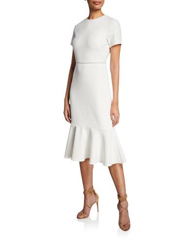 Ravello Short-Sleeve Flounce Dress