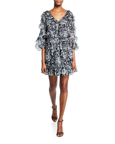 Praiano Floral-Print V-Neck Ruffle-Trim Mini Dress