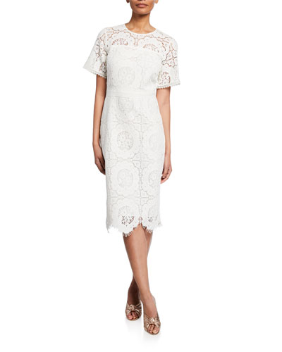 Marmande Short-Sleeve Scallop Lace Dress