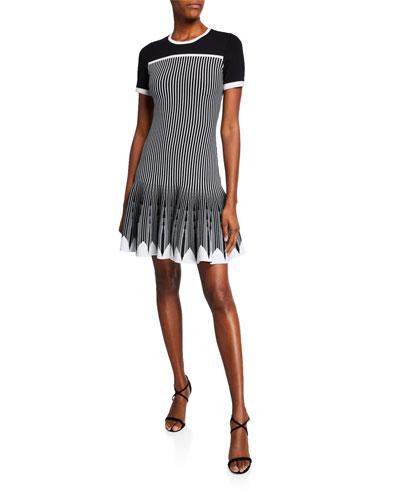 Mirella Striped Colorblock Short-Sleeve Dress