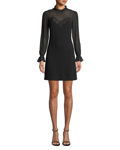 Mock-Neck Long-Sleeve A-Line Dress w/ Lace & Ruffle Details