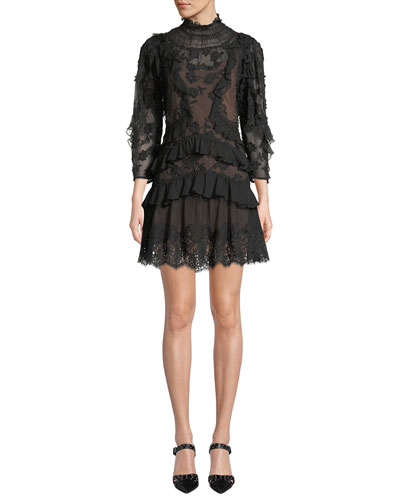 Mock-Neck Sheer Floral-Embroidered Dress w/ Lace & Ruffles
