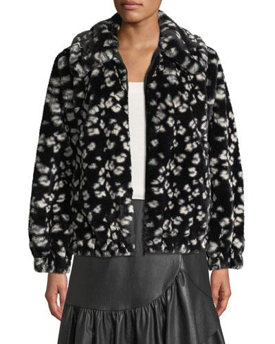 Zip-Front Cheetah Faux-Fur Bomber Jacket