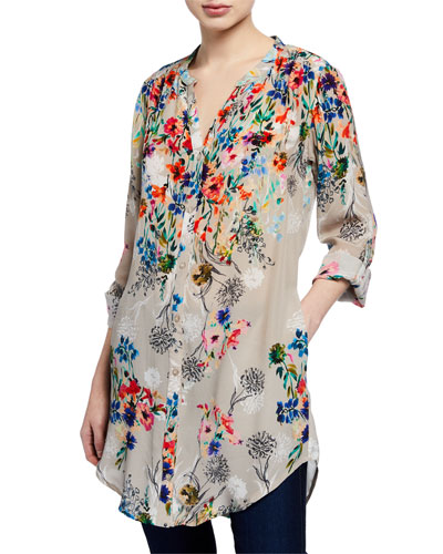 a5a2966138e713 Quick Look. Tolani · Chloe Long Floral Silk Tunic