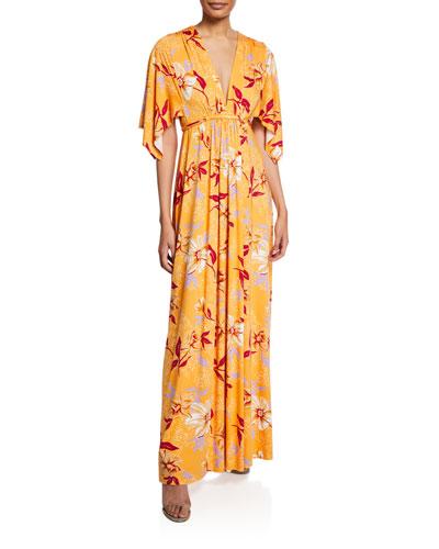Plus Size Floral-Print V-Neck Kimono-Sleeve Caftan Dress